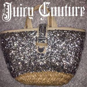 Juicy Couture Silver Sequin Wicker Tote Bag Medium